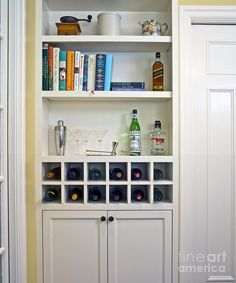 Bookshelf Wine Rack To Fill Alcove In Kitchen