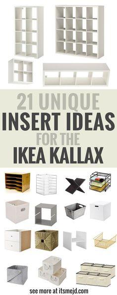 Unique Insert Ideas for an Ikea Kallax Bookcase, DIY , storage, hack - Ikea DIY - The best IKEA hacks all in one place Ikea Kallax Hack, Ikea Kallax Regal, Ikea Office Hack, Office Desks, Ikea Cubes, Ikea Bookcase, Bookcase Storage, Ikea Kallax Shelf Unit, Bedroom Hacks