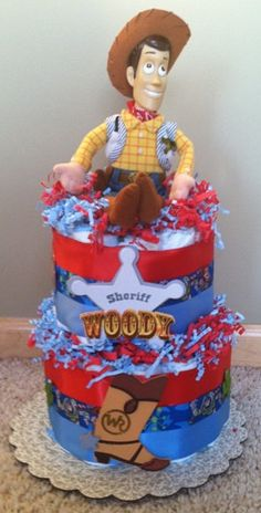 Disney TOY STORY Sheriff WOODY Diaper Cake Baby Shower Centerpiece Gift