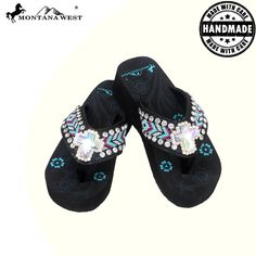 BD16-S008 Aztec Hand Beaded Collection Flip Flops BY CASE-Black-By Case