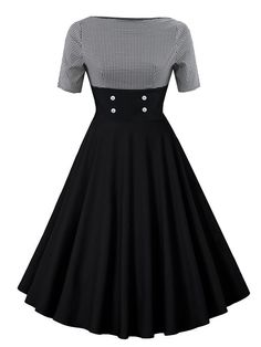 Contrast Houndstooth Circle Dress - Contrast Houndstooth Circle DressFor Women-romwe Source by - Pretty Outfits, Pretty Dresses, Beautiful Dresses, Cool Outfits, Dress Outfits, Casual Dresses, Fashion Dresses, Vintage Dresses, Vintage Outfits