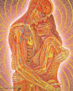 ☆ Embracing :¦: Artist Alex Grey ☆  More here ~ http://artblanketsonline.com/collections/surreal-artwork-by-alex-grey-meditation-art-blankets