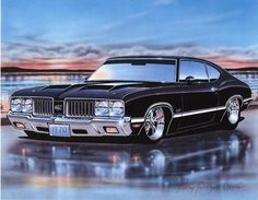 1970 Olds 442 Coupe Muscle Car Art Print Black 11x14 Poster