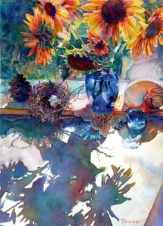 """Light Effects"" by Jeannie Vodden.  Love all the colors in the reflected light and the beauty of this cohesive composition.  Wonderful use of the medium."