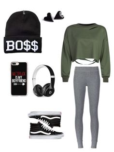 """Netflix is my Boyfriend "" by jaydahrich ❤ liked on Polyvore featuring WithChic, ATM by Anthony Thomas Melillo, Casetify, Vans and Beats by Dr. Dre"