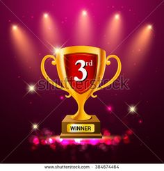 Gold trophy with background glowing element. Third winner trophy. vector illustration. - stock vector
