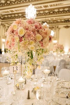 Gorgeous Tall Centerpieces - Pink & Ivory with Crystals -- See the wedding here:  http://www.StyleMePretty.com/california-weddings/2014/05/21/elegant-blush-gold-wedding-at-the-fairmont/ Photography: U Me Us Studios - umeusstudios.com -- Floral Design: VoFloralDesign.com