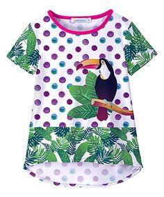 Purple Polka Dot Toucan Hi-Low Tee - Toddler & Girls