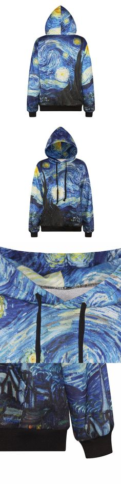 Cool Sweatshirt Women Hooded 3d Print Van Gogh Oil Painting Hoody New Fashion Hoodies Leisure Couple Vacation Pullover Clothes