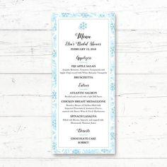 Snowflake Winter Printable Menu Card Wedding Bridal or Baby Shower Menu by CrissyDesignCo