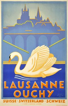 Lausanne Ouchy BY Martin Rene / 1930 Splendid Art Deco poster by René Martin, promoting Ouchy, the marina of Lausanne, around Lake of Geneva. Beautiful stone-lithograph. Rare.