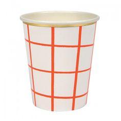 Coral Grid Cups Pk8 Meri Meri