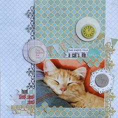 A Cat's Life Scrapbooking Layout Idea