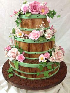 Flower Barrel wedding cake