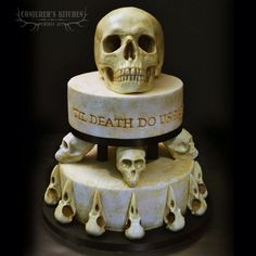 Gothic wedding cake Check us out on Fb- Unique Intuitions Skull Wedding Cakes, Gothic Wedding Cake, Gothic Cake, Skull Cakes, Witch Wedding, Geek Wedding, Medieval Wedding, Bolo Halloween, Halloween Wedding Cakes