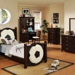 Cool Boy Bedroom Design Ideas:Football Theme With Dark Wood Furniture Like Bed Dresser Cabinet And Computer Desk