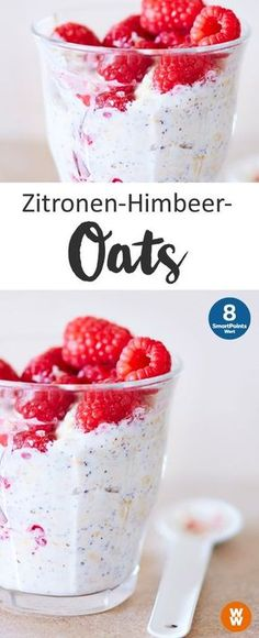 Zitronen-Himbeer-Oats   8 SmartPoints/Portion, Weight Watchers, Frühstück, schnell fertig in 5 min.