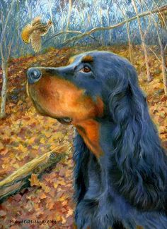 """- Published from the Original Oil Painting - Image Size 9"""" x 12"""" - Print Size 11"""" x 14"""" - Limited Edition of Only 200 Prints This beautiful Gordon setter print is a very special piece.This is a tribut"""