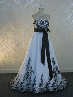 Stunning Black And White Bridal Gown Custom Made To Your Measurements