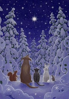 Animals watching the stars on a cold snowy night. A dog, cat, rabbit, squirrel, … – Winterbilder Christmas Scenes, Noel Christmas, Christmas Animals, Vintage Christmas Cards, Christmas Pictures, Winter Christmas, Illustration Noel, Christmas Illustration, Illustrations