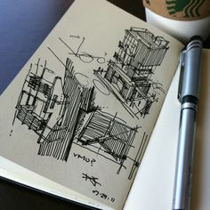 On the boards | process sketch: vertical mixed use architecture, Jamie Crawley.