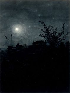 Léon Bonvin, Moonlight Scene, watercolour, 1864