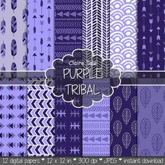 "Tribal digital paper: ""PURPLE TRIBAL"" with tribal patterns and tribal backgrounds, arrows, feathers, leaves, chevrons in purple shades"
