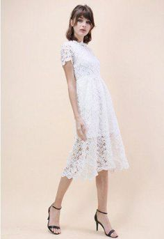 026323f41f Floral Holiday Crochet Dress in White - Dress - Retro