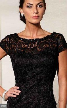 Bateau Neck Short Sleeves Black Sheath Vintage Lace 2015 Mother of Bride Dress
