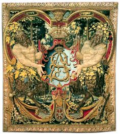 """Tapestry with monogram """"SA"""" of King Sigismund II Augustus of Poland, Brussels, c. 1555. Part of famous Jagiellonian Tapestries, also known as the Wawel Tapestries or Wawel Arrases. http://en.wikipedia.org/wiki/Tapestry"""
