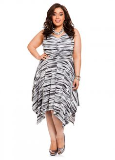 c5a953534b8 Ashley Stewart  V-neck Handkerchief Dress Plus Size Formal Dresses