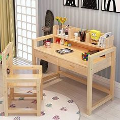 Wooden Bedroom, Bedroom Decor, Industrial Home Offices, Home Office Computer Desk, Tv Furniture, Desk And Chair Set, Modern Tiny House, Adjustable Desk, New Home Designs