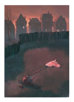 Jordi Solano Illustration - ordi solano, jordi, solano, painterly, painted, magical, whimsical, digital, photoshop, YA, young fiction, picture books, fantasy, crayon, acrylic, pink sky, horses, kettles, toys, houses, homes, outdoors, outside, parks, magical, mystery, mysterious