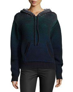 Long-Sleeve Hooded Sweatshirt, Black, Size: X-SMALL, Black Combo - Proenza Schouler