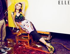 """""""ART STUDIO"""" Colour outside the lines in bold brush strokes, painterly prints and primary hues.ELLE Canada May 2014 Issue. Styled by Juliana Schiavinatto  Photographs by Max Abadian  Art direction by Denis Desro"""
