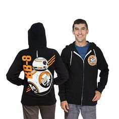 BB-8 design on the chest and back of this black 80% cotton / 20% polyester full-zip hoodie.