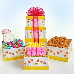 Joyful Easter Tower The only thing better than an Easter Basket is our Joyful Easter Tower overflowing with sweet treats! Send Easter Bunny wishes when you send this bright floral tower that holds everything they desire. Classic Easter Bunny Peeps, Easter Jelly Belly jelly beans, gourmet toffee popcorn, a delightful Easter Egg Bunny iced sugar cookie and colorful chocolate foil Easter eggs complete this fun and fresh gift.