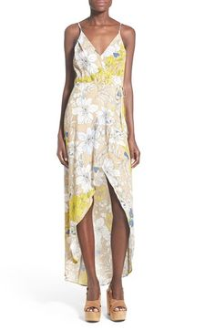 ASTR 'Donna' Floral Print Surplice Dress available at #Nordstrom