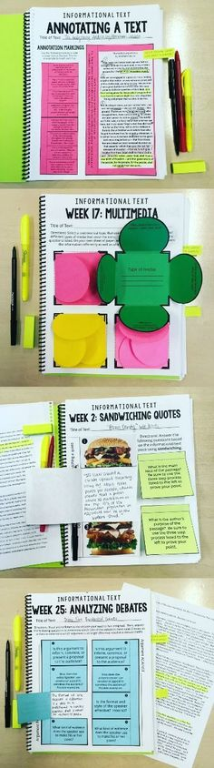 Text Interactive Notebook for ANY Text: Grades Informational text Interactive Notebook for grades text Interactive Notebook for grades Teaching Writing, Teaching Strategies, Teaching Tools, Teaching English, Teacher Resources, Teaching Themes, Essay Writing, Interactive Student Notebooks, Middle School Reading