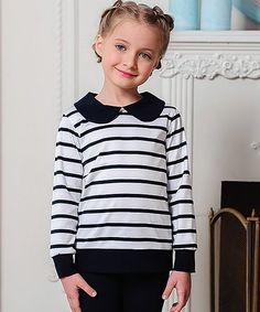 Look what I found on #zulily! Navy & White Stripe Top - Girls #zulilyfinds
