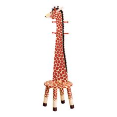 Kids' Giraffe Coat Rack. They can also sit on the seat at bottom and put their shoes on :) This is so cute!