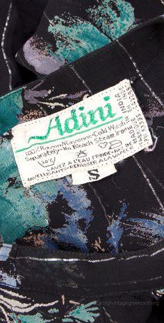 Vintage branding label. 1970's Fabric garment label , 'ADINI'
