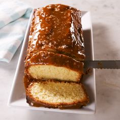 This is no ordinary pound cake. It's swirled with a sweet and decadent caramel batter and topped with a healthy drizzle of salted caramel after it's baked. Get the recipe at Delish.com. #delish #easy #recipe #saltedcaramel #caramel #poundcake #cake #caramelsauce #drizzle #dessert #salt #sweet Caramel Pound Cake Recipe, Salted Caramel Cake, Pound Cake Recipes, Caramel Cupcakes, Healthy Cake Recipes, Healthy Baking, Dessert Recipes, Just Desserts, Delicious Desserts