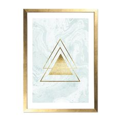 Cult Living Gold Triangle Print Marble Framed Poster, Light Blue, A2