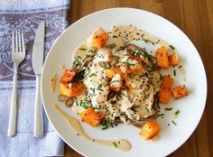 Chili Roasted butternut squash with soba noodles and miso-tahini sauce