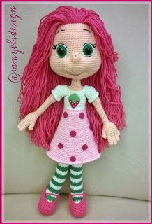 Samyelinin Örgüleri: Çilek Çilek Çilekkk Crochet Doll Pattern, Crochet Toys Patterns, Stuffed Toys Patterns, Crochet Dolls, Doll Patterns, Crochet Baby, Knitting Patterns, Soft Dolls, Amigurumi Doll