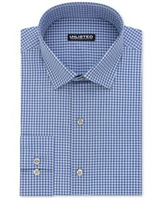 Tailored to create a sleek silhouette and with a crisp check pattern, this handsome dress shirt from Kenneth Cole Unlisted can instantly update any workplace ensemble. | Cotton/polyester | Machine was