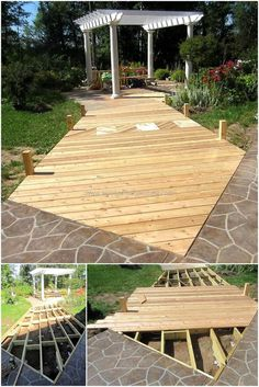 Here is an amazing and delicate idea of decorating your outer space by crafting a wood pallet garden deck. We have creating this wooden deck on the pathway that leads to your garden hut to give it a more natural flavor. It is also sharpening the effect of the hut which would otherwise might not get as much highlighted as now.