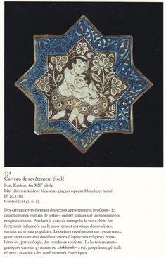 fin 13ème siècle  Iran ville de  kashan carreau de revêtement étoilé Tile Art, Mosaic Art, Mosaic Tiles, Islamic World, Islamic Art, Ceramic Pottery, Pottery Art, Cultural Artifact, Ancient Near East