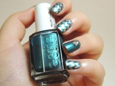 Trophy Wife by Essie - chevrons nails - metal nails